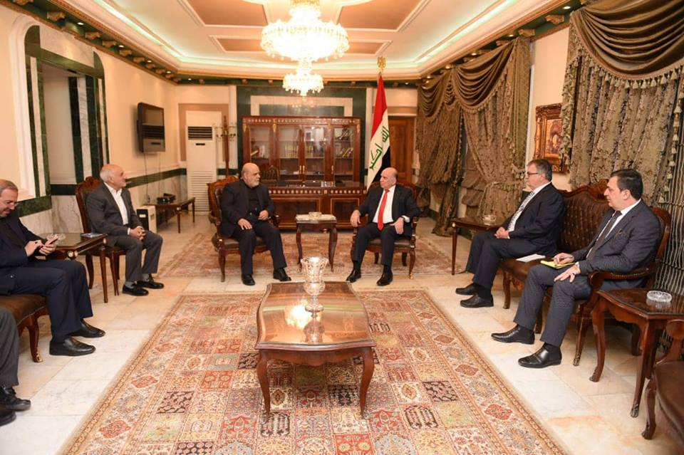 Deputy Prime Minister for Economic Affairs and Minister of Finance Dr. Fuad Hussein receives HE the Ambassador of the Islamic Republic of Iran in Baghdad and his accompanying delegation. 45506188_2103371766642860_6388750469681905664_n