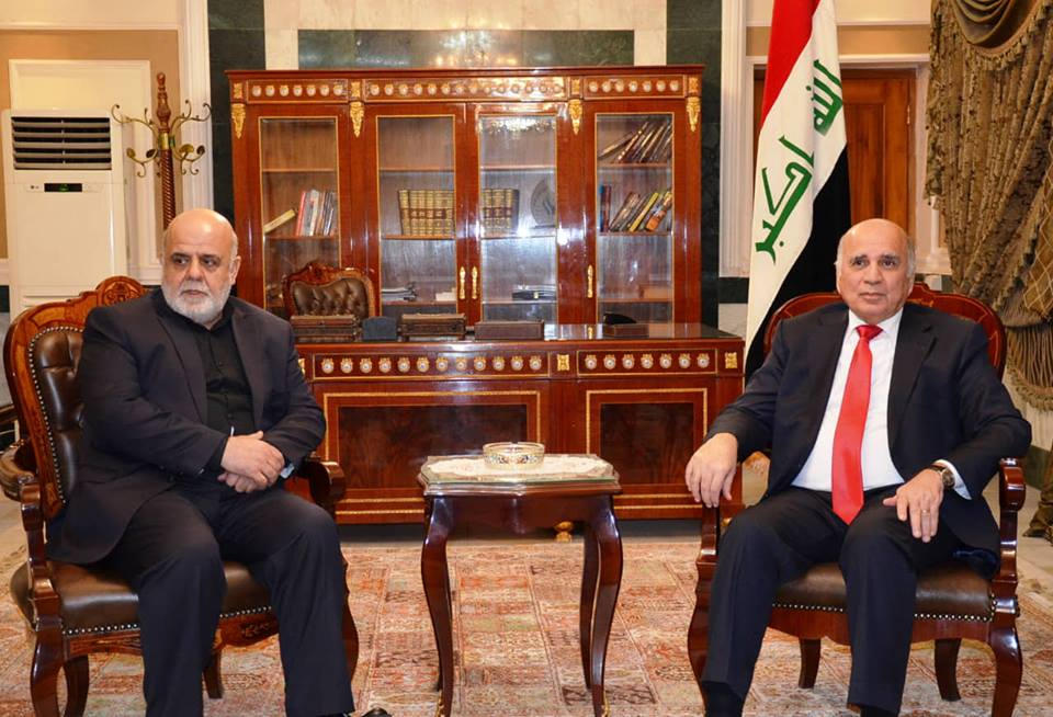 Deputy Prime Minister for Economic Affairs and Minister of Finance Dr. Fuad Hussein receives HE the Ambassador of the Islamic Republic of Iran in Baghdad and his accompanying delegation. 45643531_2172146076437217_1490902617251905536_n