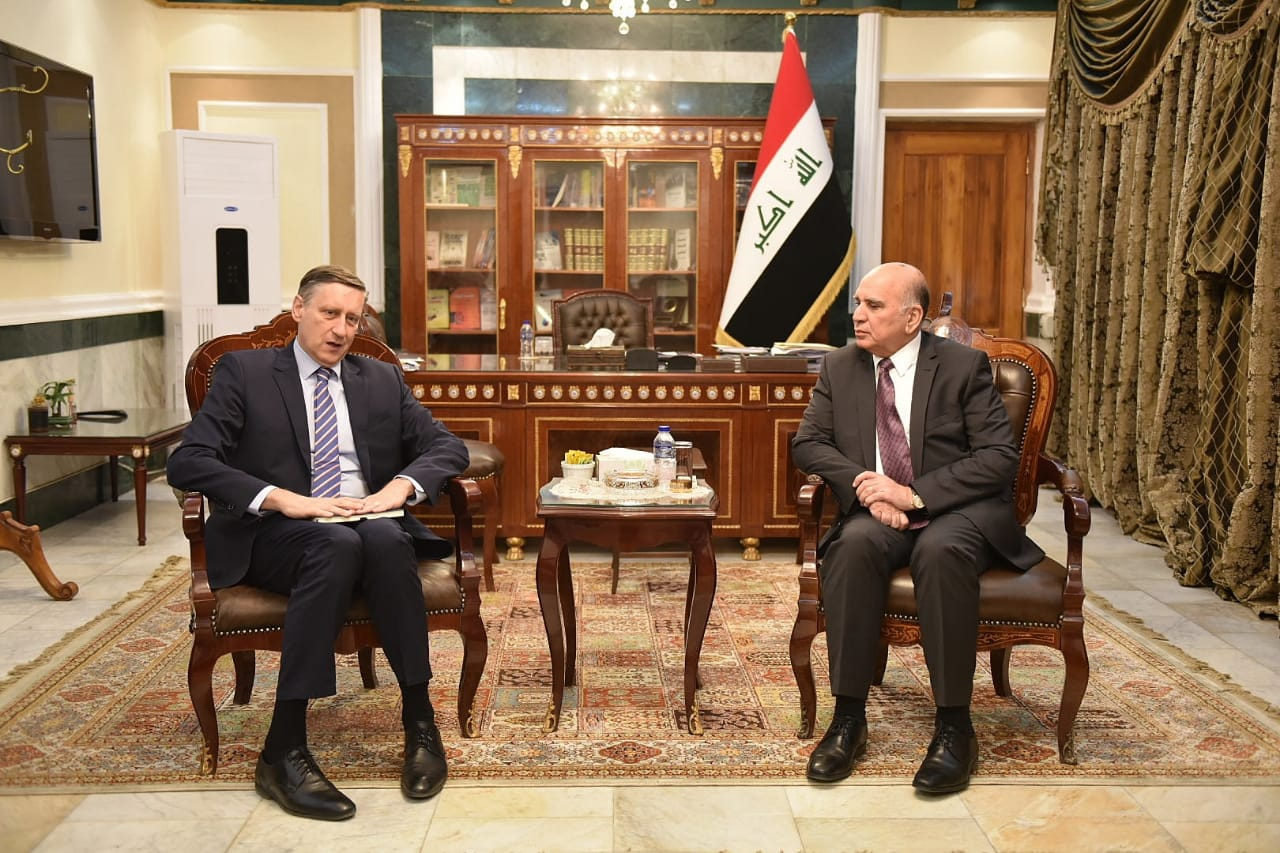 Deputy Prime Minister for Economic Affairs and Minister of Finance Mr. Fuad Hussein meets in Baghdad the German Ambassador Mr. Cyril Nun and a number of representatives of German companies 80f3238b-08e9-4f34-9e91-026be90d891f